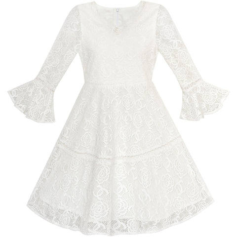 Flower Girl Dress Lace Off White Bell Sleeve Party Size 6-14 Years