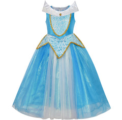 Princess Aurora Costume Briar Rose Dress Up Blue Size 5-12 Years