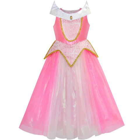 Princess Aurora Costume Briar Rose Dress Up Pink Size 5-12 Years