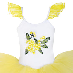 Girls Dress Cute Tutu Dancing Yellow Ballet Dress Size 2-8 Years