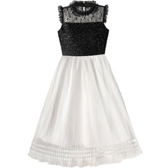 Girls Dress White And Black Pleated Skirt Lace Sequin Size 6-14 Years