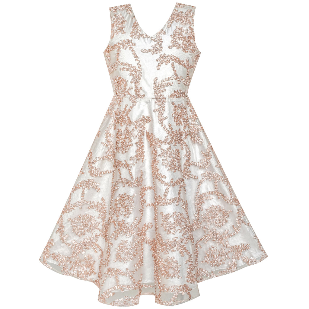 b0d65d81a73cc Girls Dress V Neckline Embroidered Floral Champagne Size 6-12 Years