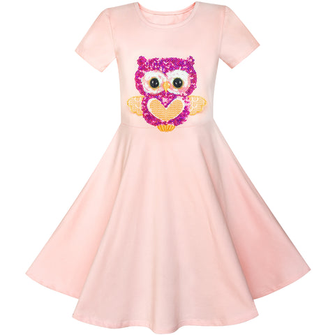 Girls Dress Misty Rose Owl Sequin Cotton Dress Size 4-8 Years