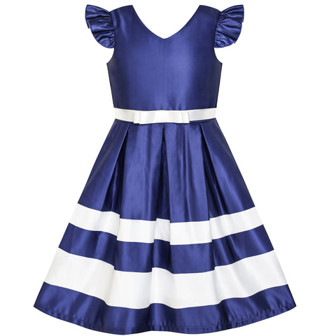 Girls Dress Navy Blue V-neckline Ribbon Color Contrast Size 6-12 Years