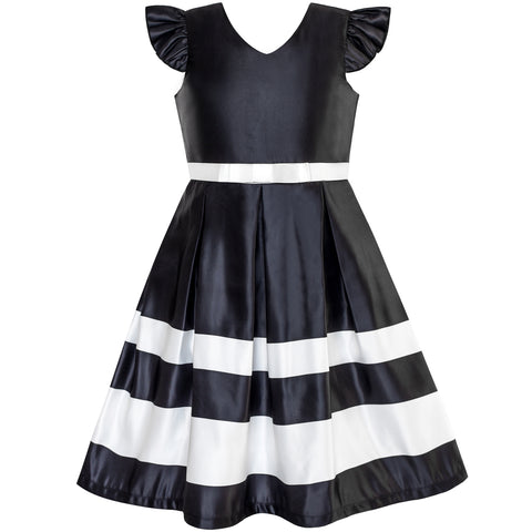 Girls Dress Black V-neckline Ribbon Color Contrast Size 6-12 Years