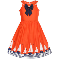 Girls Dress Navy Blue Dot Sea Fish Ocean Beach Halter Dress Size 6-12 Years