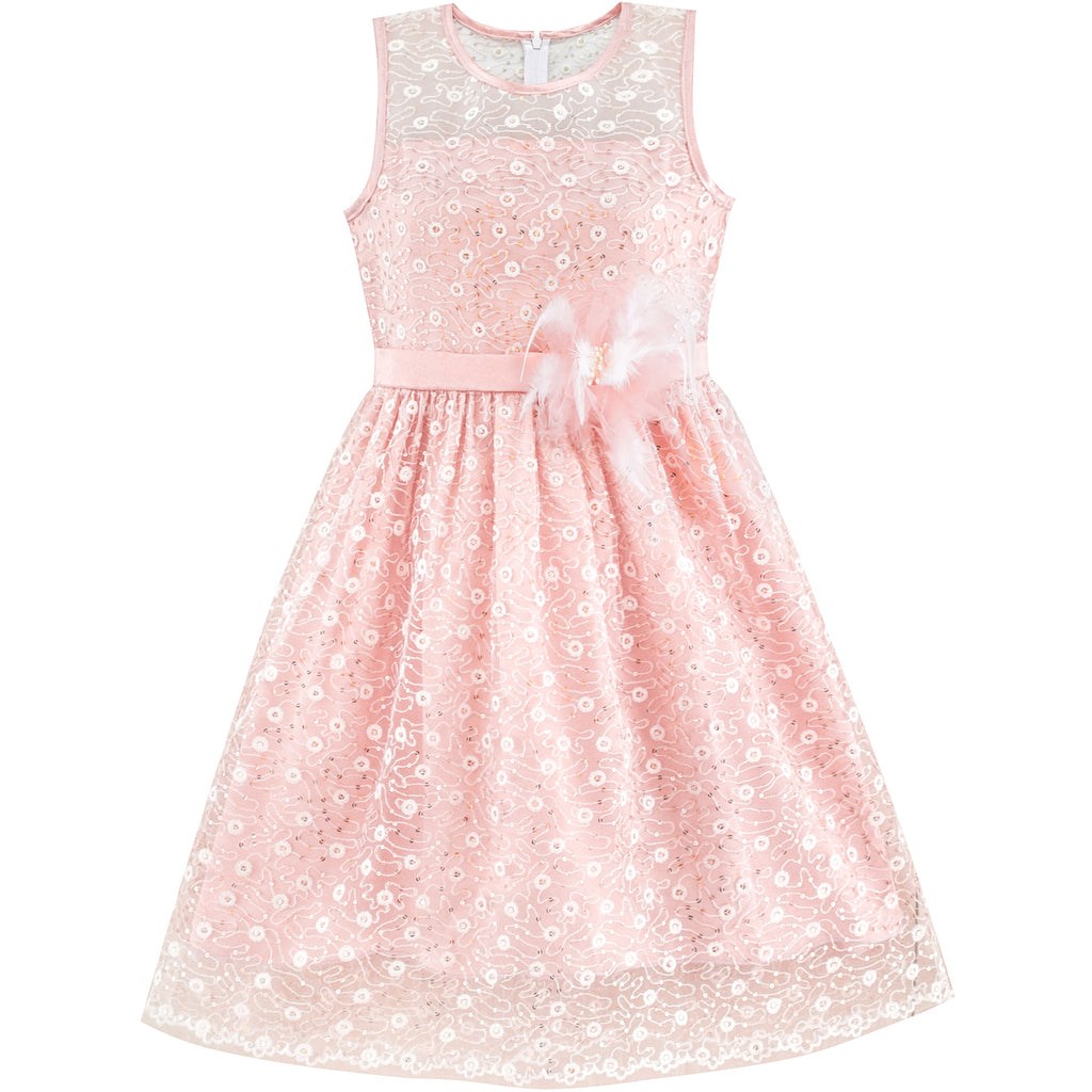 Flower Girl Dress Lace Sequin Flare Pink Wedding Party Size 5-12 Years