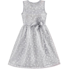 Flower Girl Dress Lace Sequin Flare Gray Wedding Party Size 5-12 Years