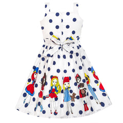 Girls Dress Cartoon Dot Bow Tie Summer Size 2-8 Years