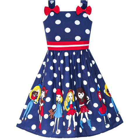 Girls Dress Cartoon Navy Blue Dot Bow Tie Summer Size 2-8 Years