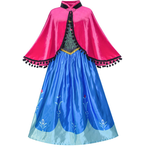 Princess Dress Anna Costume Dress Up Cosplay Cloak Snowflake