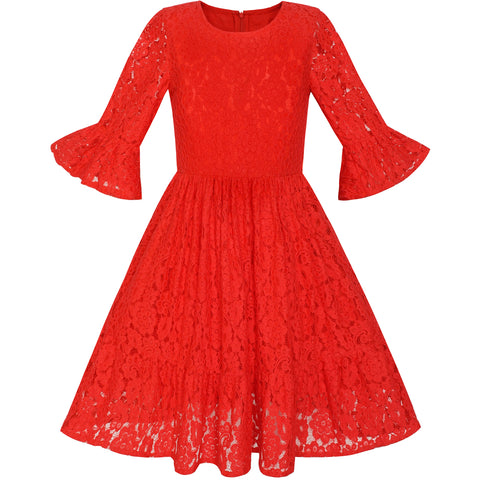 Girls Dress Red Bell Sleeve Lace Ruffle Skirt Holiday Dress Size 5-12 Years