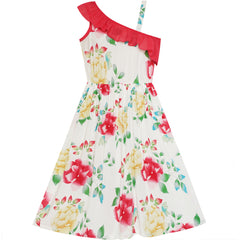 Girls Dress Floral One-Shoulder Design Summer Beach Dress Size 7-14 Years