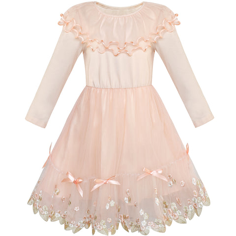 Girls Dress Long Sleeve Lace Ruffle Collar Dancing Dress Size 5-12 Years