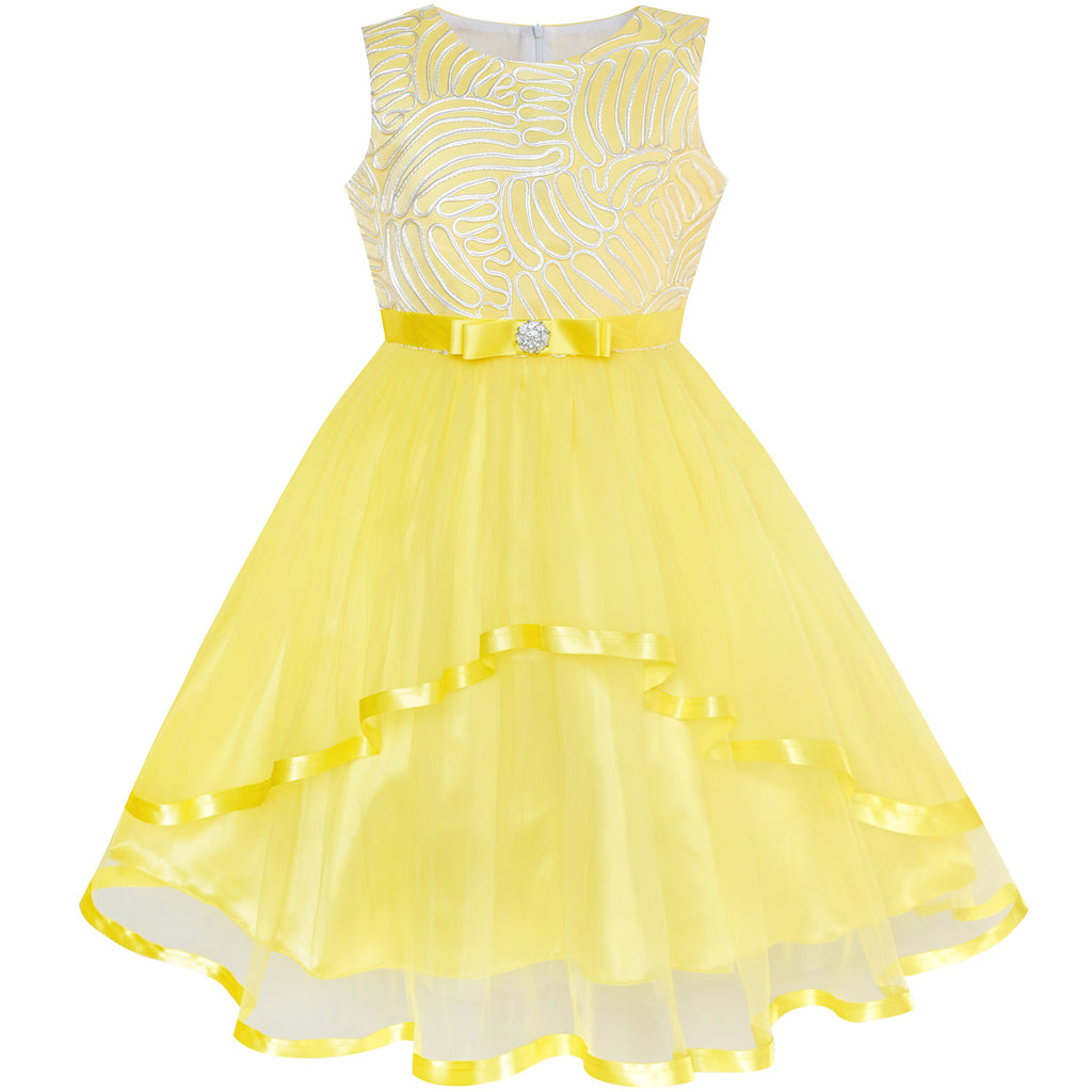 f280f2a90 Flower Girl Dress Yellow Belted Wedding Party Bridesmaid – Sunny Fashion