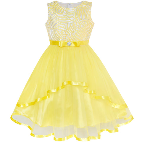 5b8b59e1a42 Flower Girl Dress Yellow Belted Wedding Party Bridesmaid Size 4-12 Years