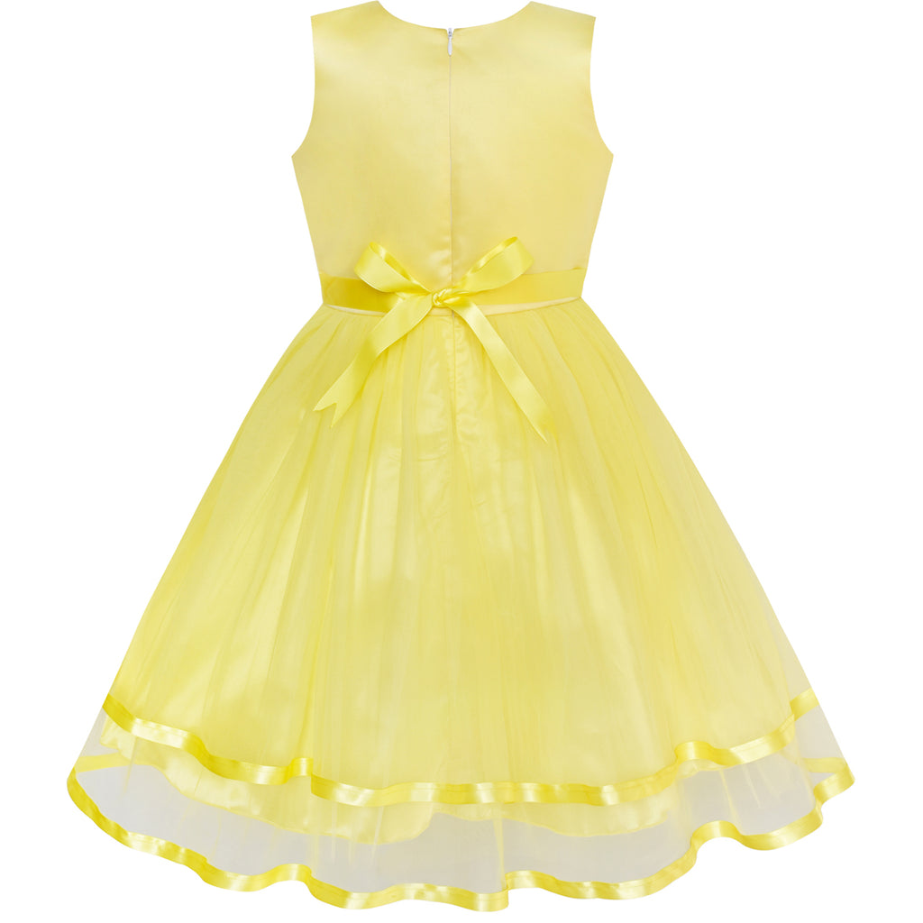 Flower Girl Dress Yellow Belted Wedding Party Bridesmaid Sunny Fashion