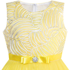 Flower Girl Dress Yellow Belted Wedding Party Bridesmaid Size 4-12 Years