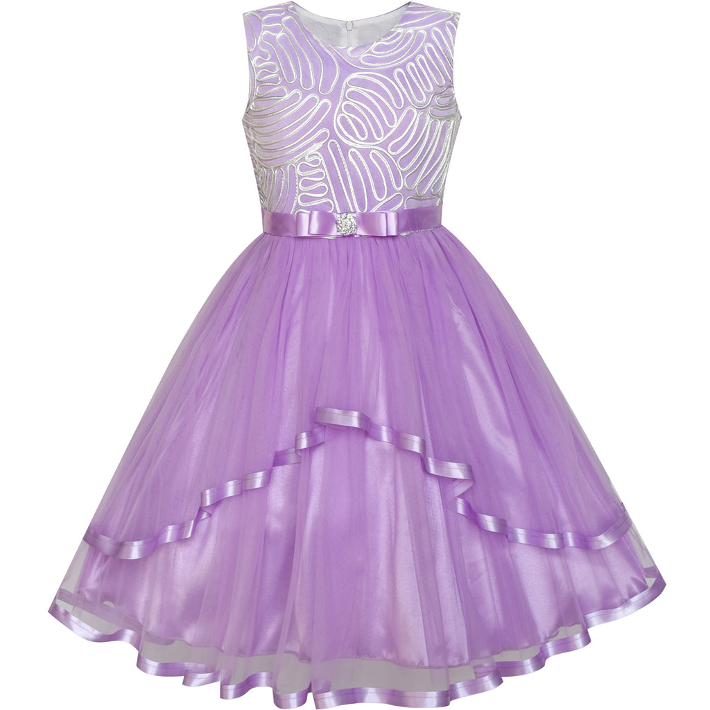 072655078 Flower Girl Dress Purple Belted Wedding Party Bridesmaid – Sunny Fashion