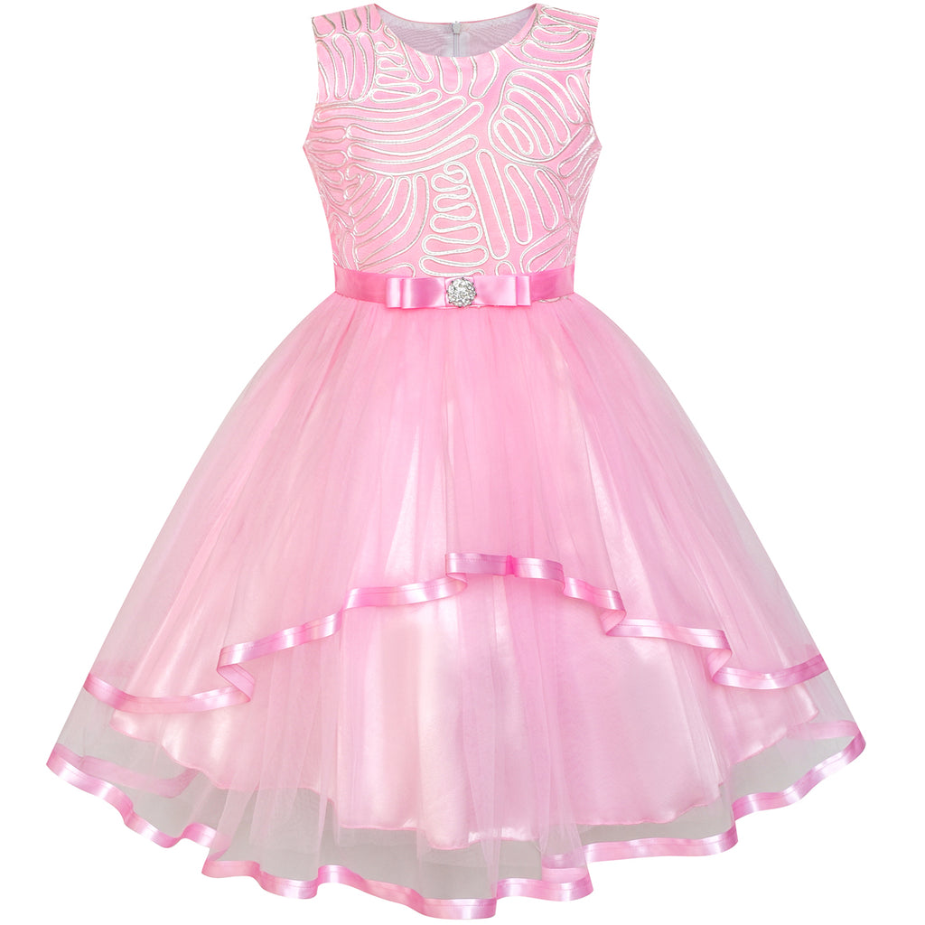 Flower Girl Dress Pink Belted Wedding Party Bridesmaid Size 4-12 Years