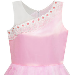 Flower Girl Dress One Shoulder Lace Embroidered Flower Pageant Size 5-10 Years