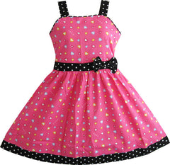 Girls Dress Heart Print Pink Size 4-12 Years Christmas