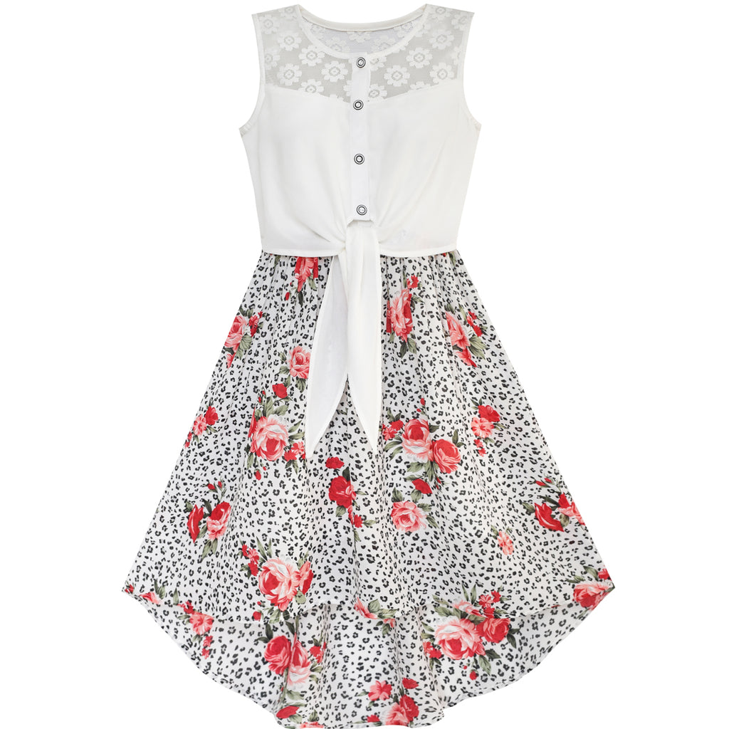 Girls Dress Chiffon Floral High-low Tie Waist Party Size 7-14 Years