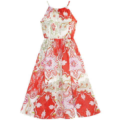 Girls Dress Red Floral Chiffon Slip Midi Dress Summer Beach Party Size 7-14 Years