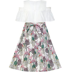 Girls Dress Chiffon Floral Ruffle Cold Shoulder Party Dress Size 7-14 Years
