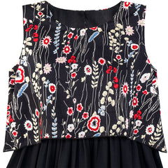 Girls Dress 2-in-1 Black Floral High-Low Chiffon Party Dress Size 7-14 Years
