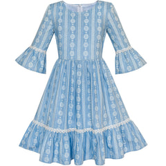 Girls Dress Denim Blue Bell Sleeve Ruffled Skirt Easter Dress Size 5-12 Years