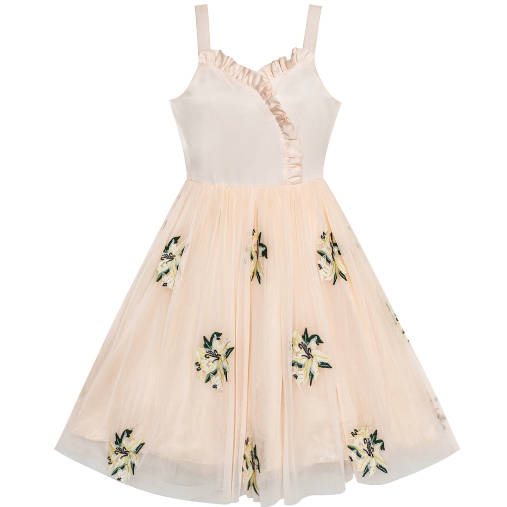 Flower Girl Dress Lily Flower Embroidered Wedding Party Size 6-12 Years