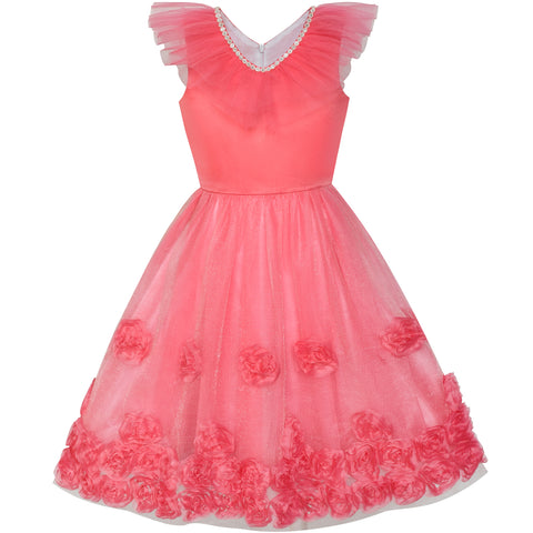 Flower Girls Dress Ruffle Watermelon Red Wedding Pageant Size 4-10 Years