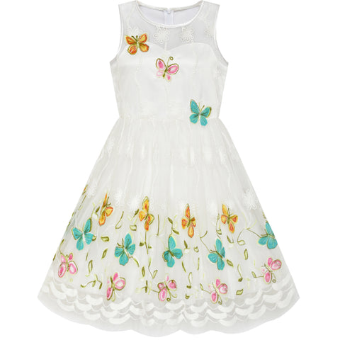 Girls Dress Butterfly Easter Illusion Yoke Party Dress Size 7-14 Years