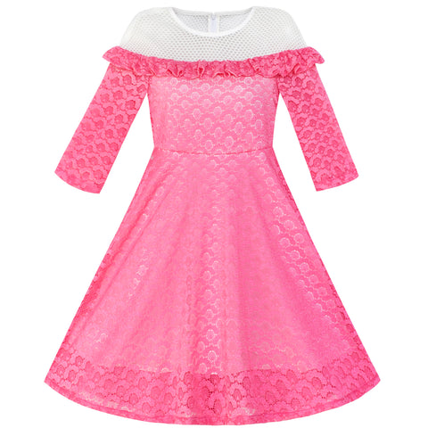 Girls Dress Off Shoulder Illusion Yoke 3/4 Sleeve Lace Dress Size 6-12 Years