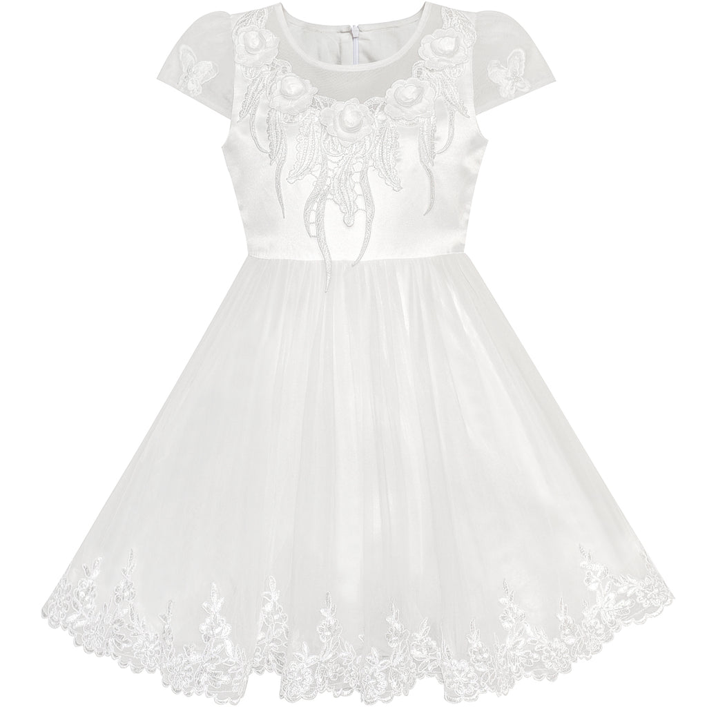 Flower Girl Dress Off White Cap Sleeve Wedding Party Size 6-12 Years