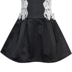 Girls Dress Black White Color Contrast Lace Bow Tie Size 6-10 Years