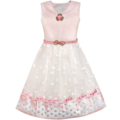 Girls Dress Sailor Collar Pink Belted Bow Tie Elegant Dress Size 7-14 Years
