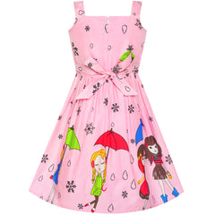 Girls Dress Cartoon Dot Bow Tie Pink Summer Sundress Size 2-8 Years