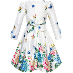 Girls Dress Satin Butterfly Hydrangea Flower Printed Size 5-12 Years