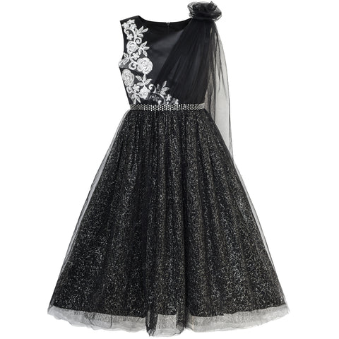 Girls Dress Black Sparkling Tulle Lace Party Prom Gown Size 6-12 Years