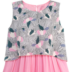 Girls Dress 2-in-1 Pink Floral Hi-Low Chiffon Party Dress Size 7-14 Years