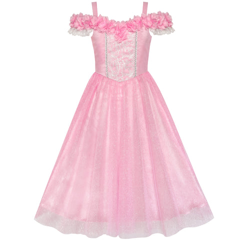 Flower Girls Dress Pink Cold Shoulder Bridesmaid Wedding Size 6-12 Years