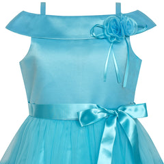 Flower Girls Dress Off Shoulder Blue Wedding Pageant Size 4-10 Years