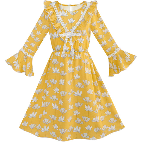 Girls Dress Chiffon Bell Sleeve Floral Elegant Dress Size 7-14 Years
