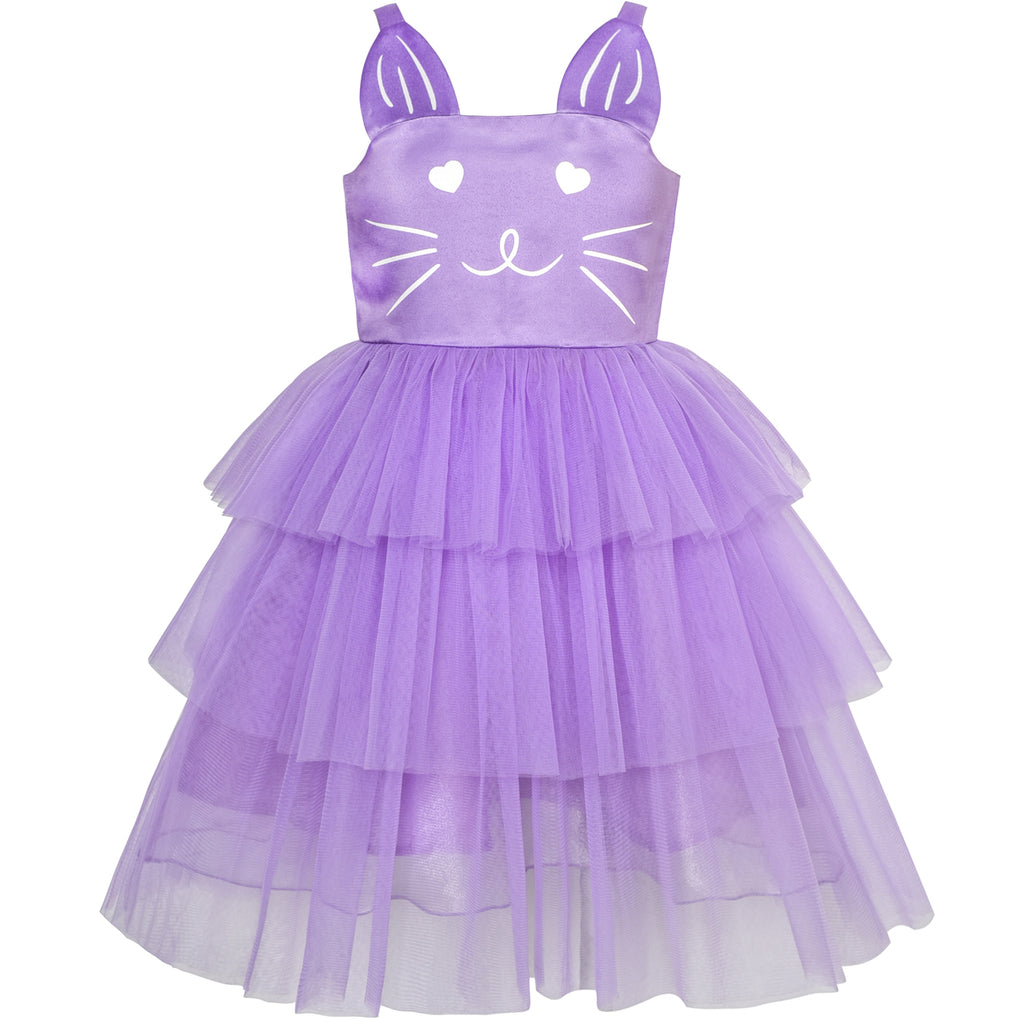 Girls Dress Cat Face Purple Tower Ruffle Dancing Party Size 4-10 Years