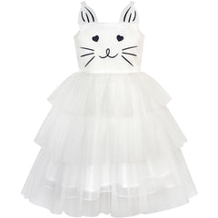 Girls Dress Cat Face Off White Tower Ruffle Dancing Party Size 4-10 Years