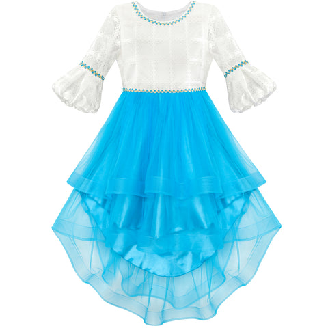 Girls Dress White And Blue Hi-Lo Party Dancing Pageant Size 6-14 Years