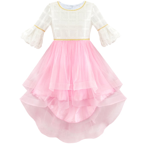 Girls Dress White And Pink Hi-Lo Party Dancing Pageant Size 6-14 Years