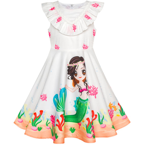 Girls Dress Mermaid Cartoon Princess Ruffle Collar Party Dress Size 2-6 Years